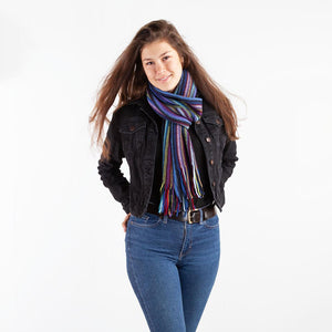 Multi Stripe Lambswool Scarf Yellow Mix -  - CLOTHING  from The Wool Company