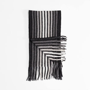 Multi White Stripe Lambswool Scarf Black -  - CLOTHING  from The Wool Company
