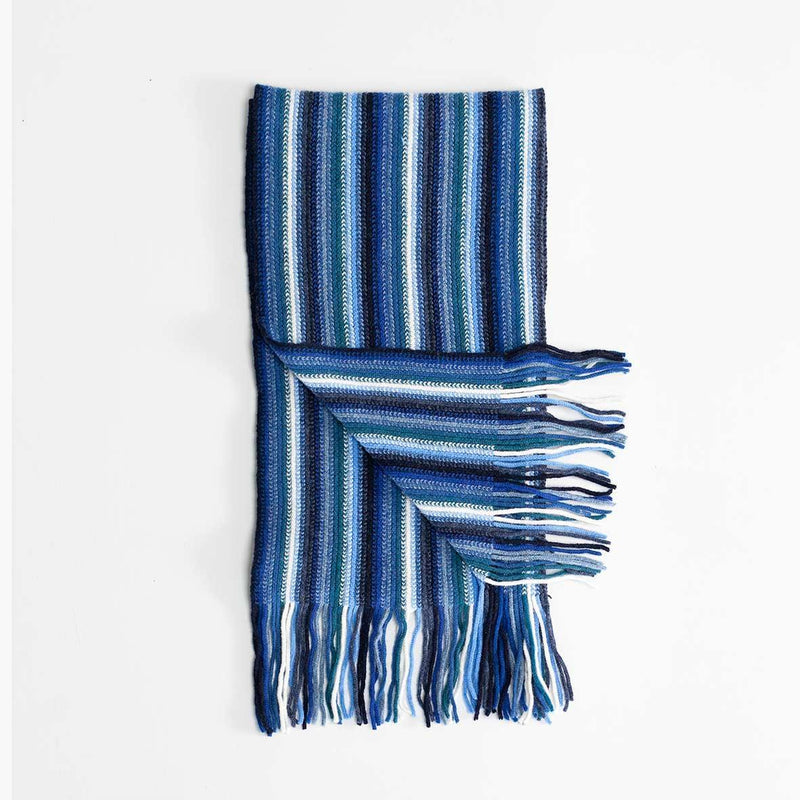 Multi White Stripe Lambswool Scarf Blue -  - CLOTHING  from The Wool Company