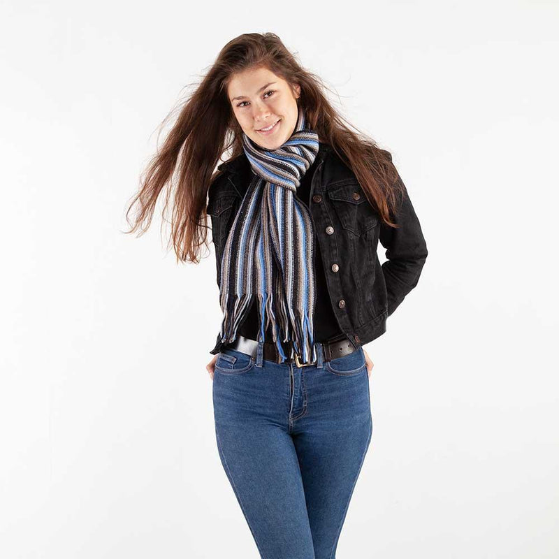 Multi White Stripe Lambswool Scarf Coffee -  - CLOTHING  from The Wool Company