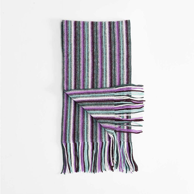 Multi White Stripe Lambswool Scarf Lilac -  - CLOTHING  from The Wool Company