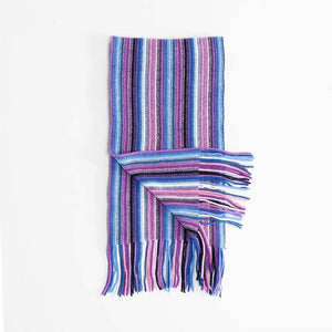 Multi White Stripe Lambswool Scarf Pink -  - CLOTHING  from The Wool Company