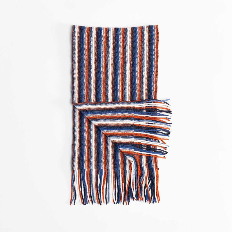 Multi White Stripe Lambswool Scarf Rust -  - CLOTHING  from The Wool Company