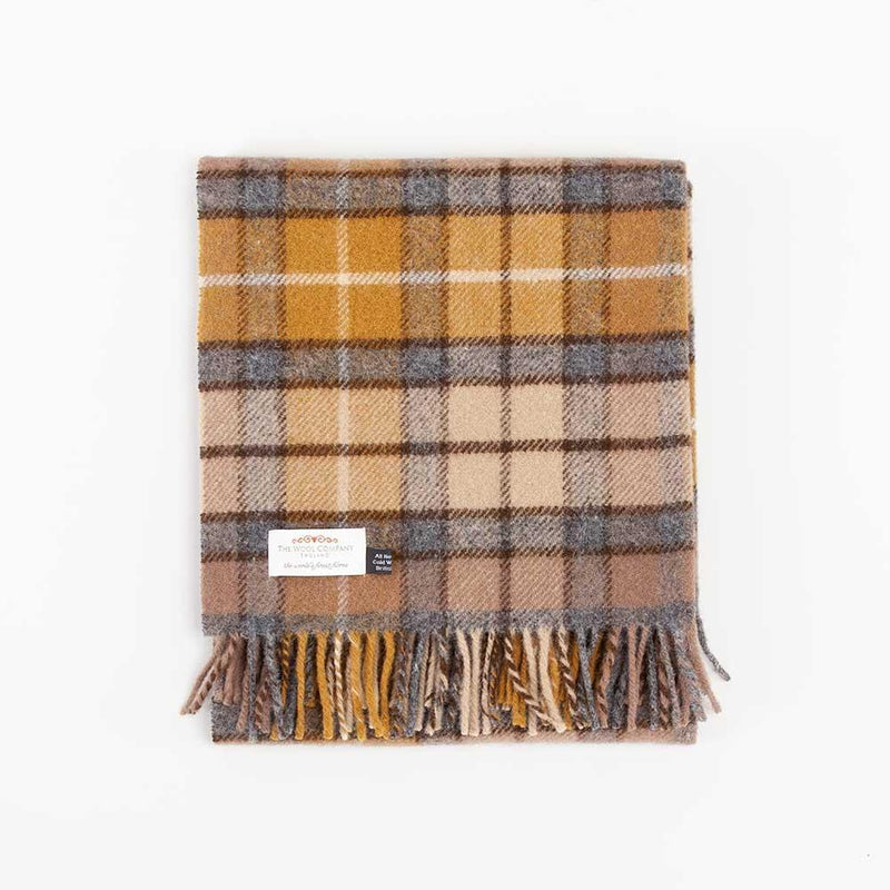 Natural Buchanan Tartan Check Pure New Wool Knee Rug -  - LIVING  from The Wool Company