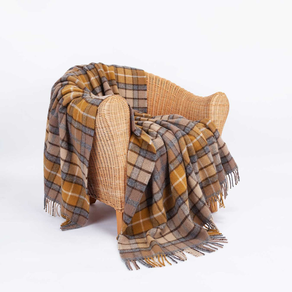 Natural Buchanan Tartan Check Pure New Wool Throw -  - LIVING  from The Wool Company