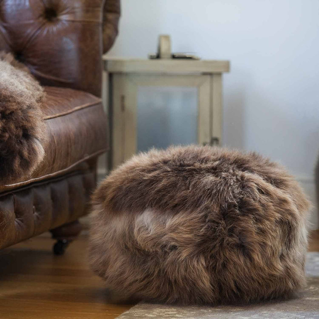 Natural Sheepskin Dumpling Footstool Silver and Brown -  - SHEEPSKIN  from The Wool Company