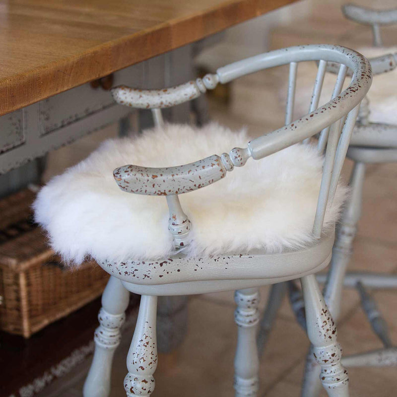Natural White Sheepskin Seat Pads Round 38 cm - Default Title - SHEEPSKIN  from The Wool Company