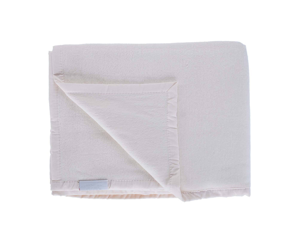 Organic Cotton Fleece Throw Cream LIVING The Wool Company