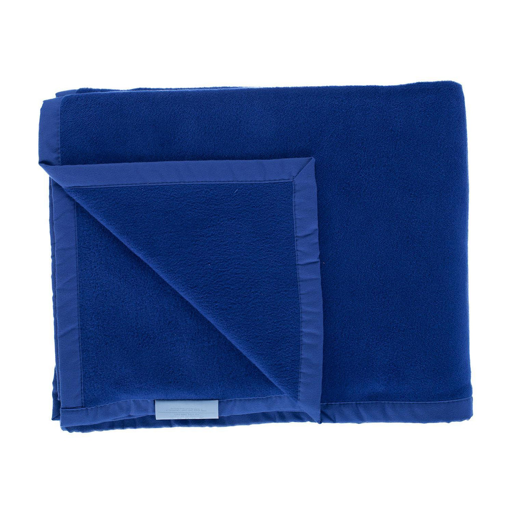 Organic Cotton Fleece Throw Dark Blue LIVING The Wool Company