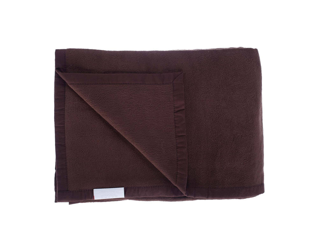 Organic Cotton Fleece Throw Dark Brown LIVING The Wool Company