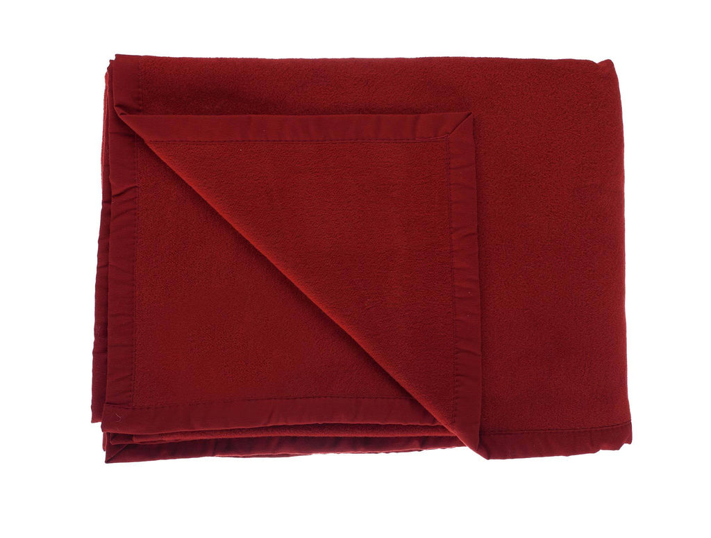 Organic Cotton Fleece Throw Dark Red LIVING The Wool Company
