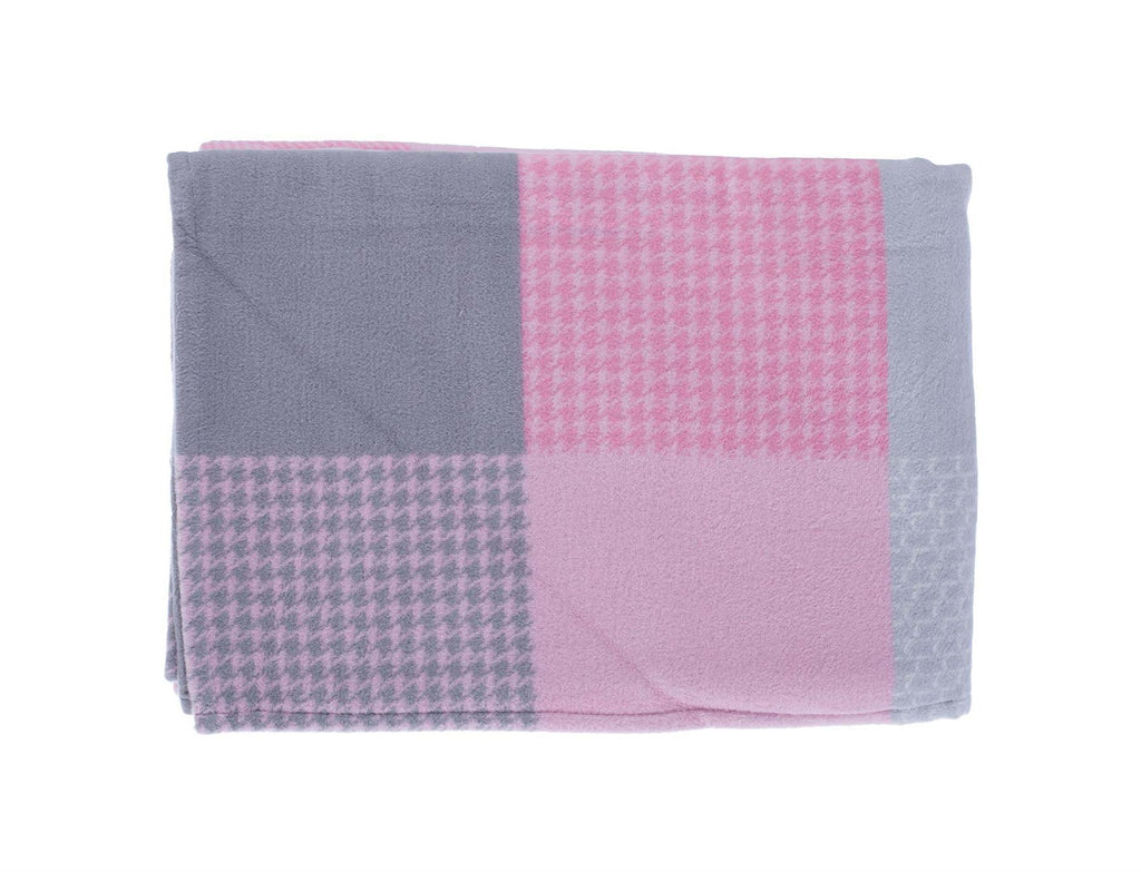 Organic Cotton Fleece Throw Grey and Pink Check LIVING The Wool Company