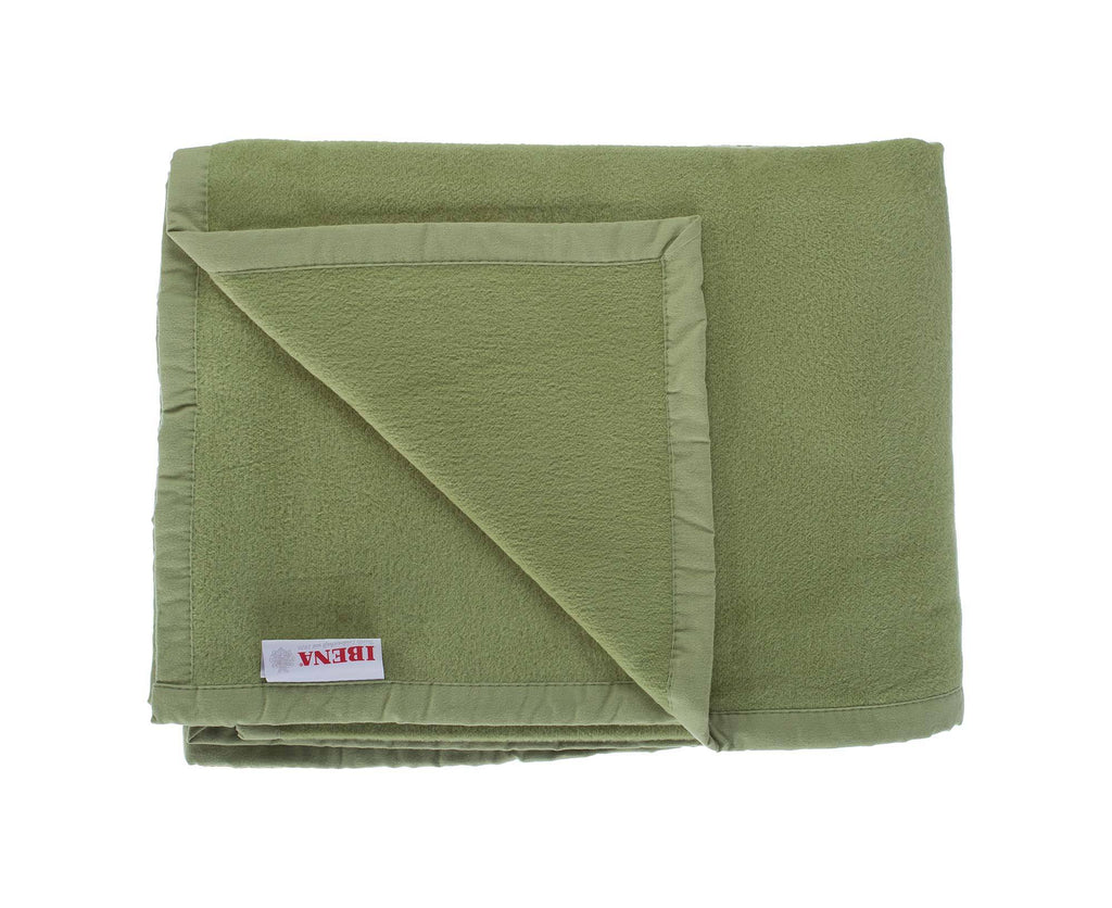Organic Cotton Fleece Throw Moss Green LIVING The Wool Company