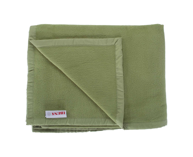 Organic Cotton Fleece Throw Moss Green -  - LIVING  from The Wool Company