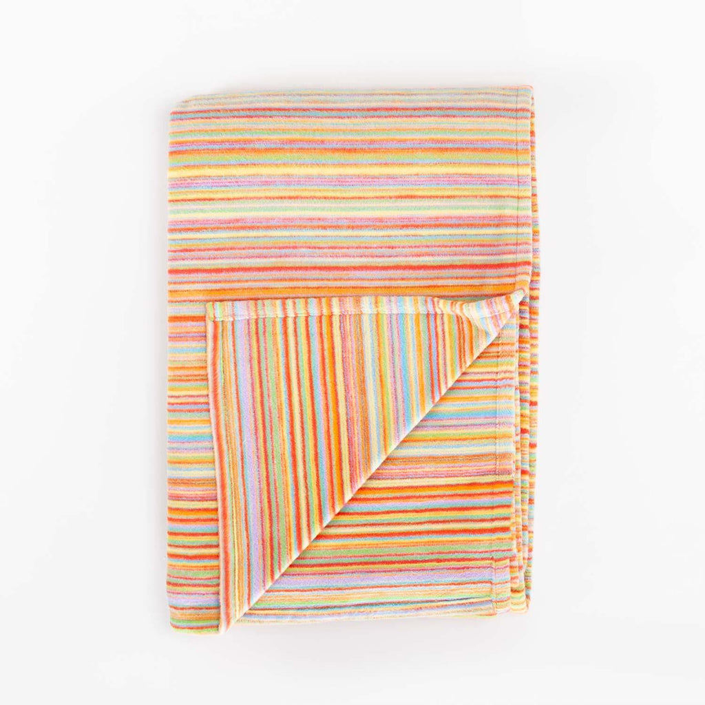 Organic Cotton Fleece Throw Multi Stripe -  -   from The Wool Company