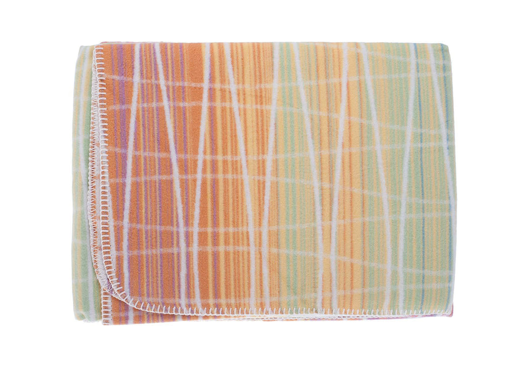 Organic Cotton Fleece Throw Multicoloured LIVING The Wool Company