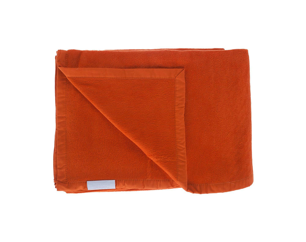 Organic Cotton Fleece Throw Orange LIVING The Wool Company
