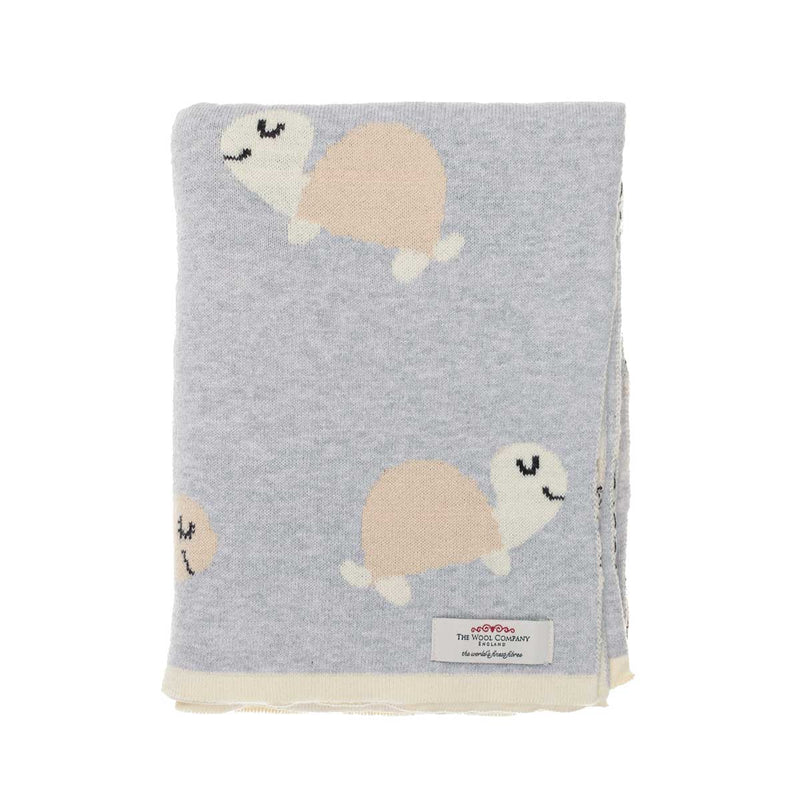 Ozzy Tortoise Baby Blanket Dove Grey BABY The Wool Company