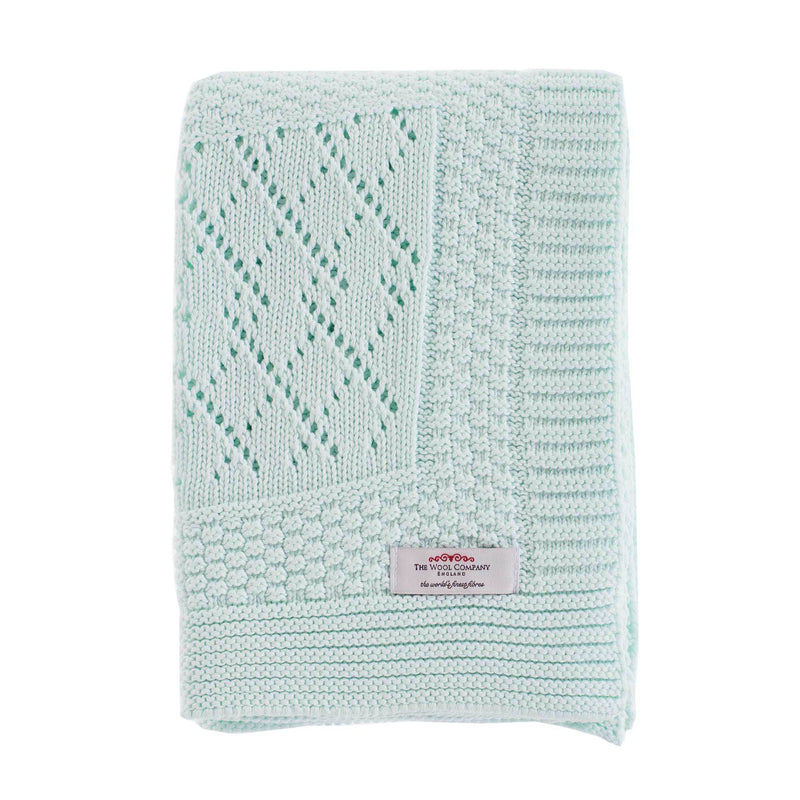 Patterned Knitted Baby Blanket Mint -  - BABY  from The Wool Company
