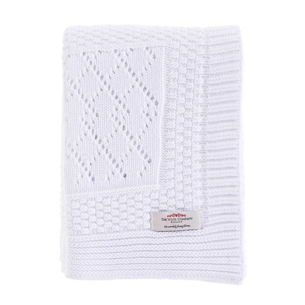 Buy Patterned Knitted Baby Blanket White From The Wool Company Online