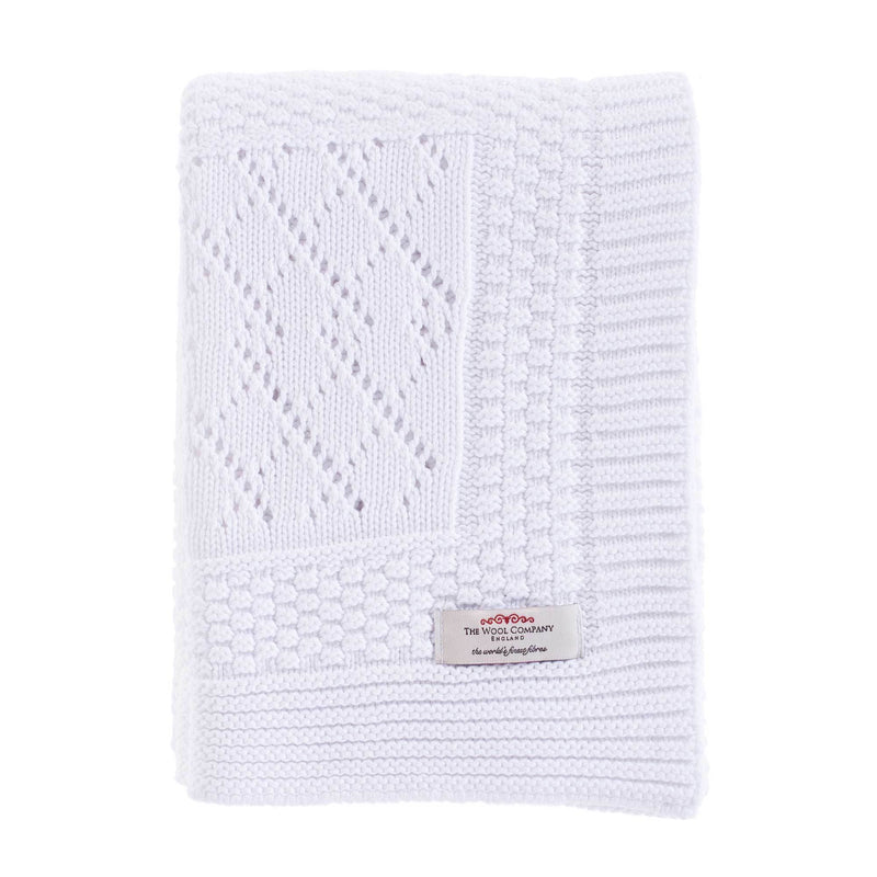 Patterned Knitted Baby Blanket White -  - BABY  from The Wool Company