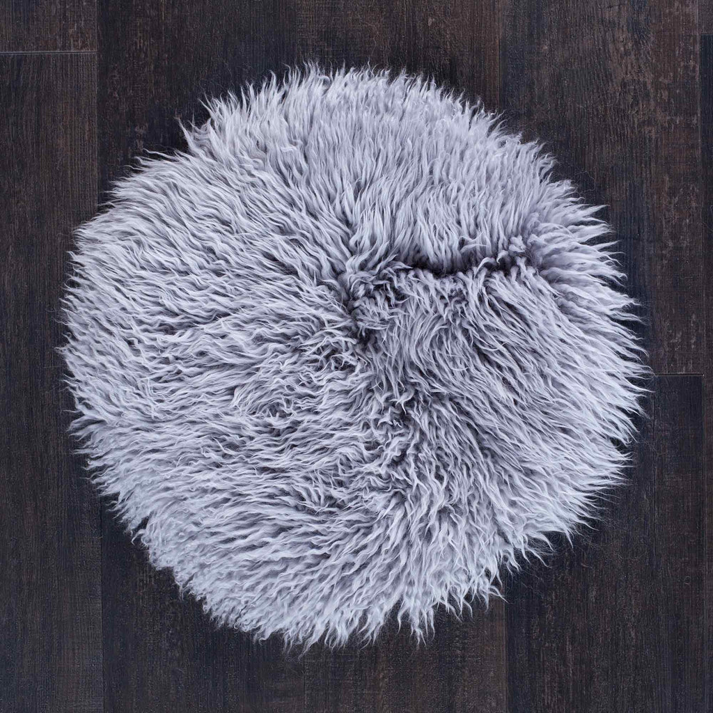 Pewter Yeti Sheepskin Seat Pads Round 38 cm -  - SHEEPSKIN  from The Wool Company