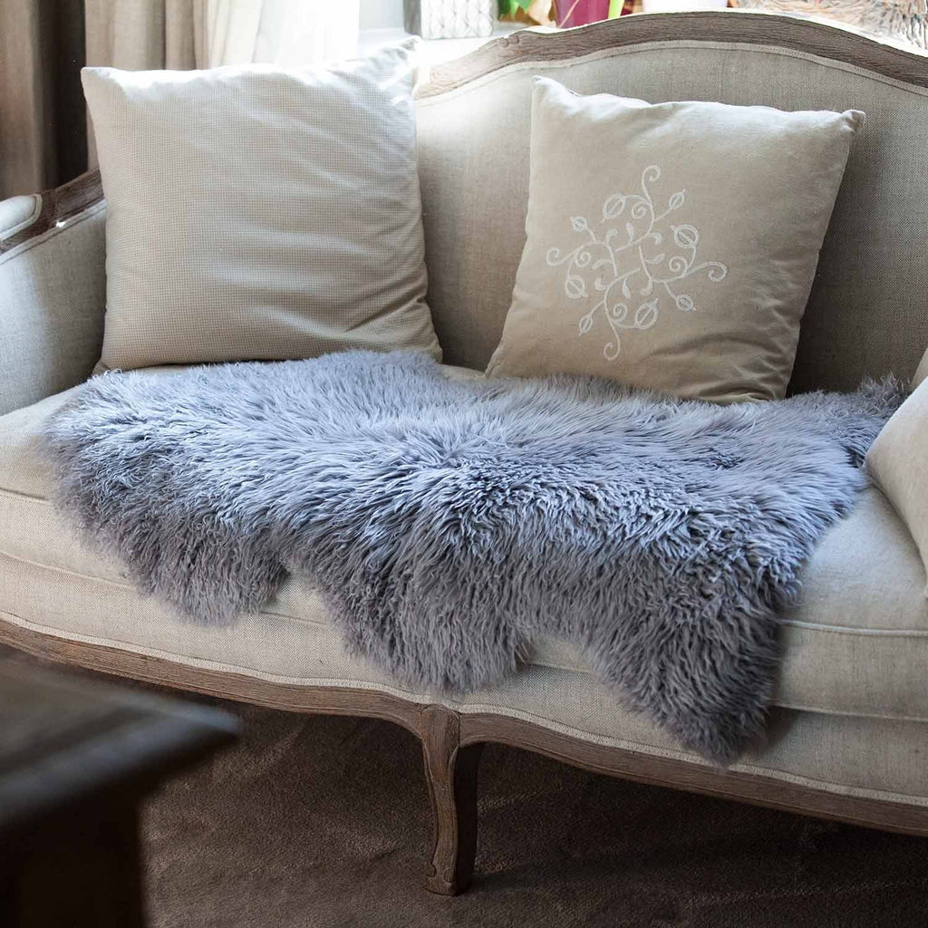 Pewter Yeti Sheepskin Throw SHEEPSKIN The Wool Company