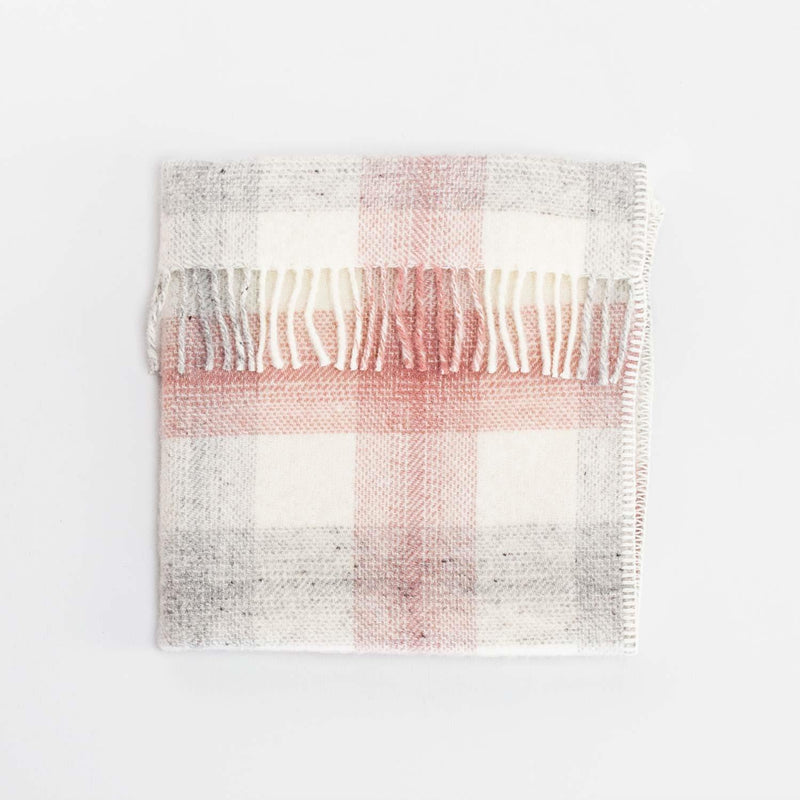 Pure New Wool Baby Blanket Pink and Grey Check -  - BABY  from The Wool Company