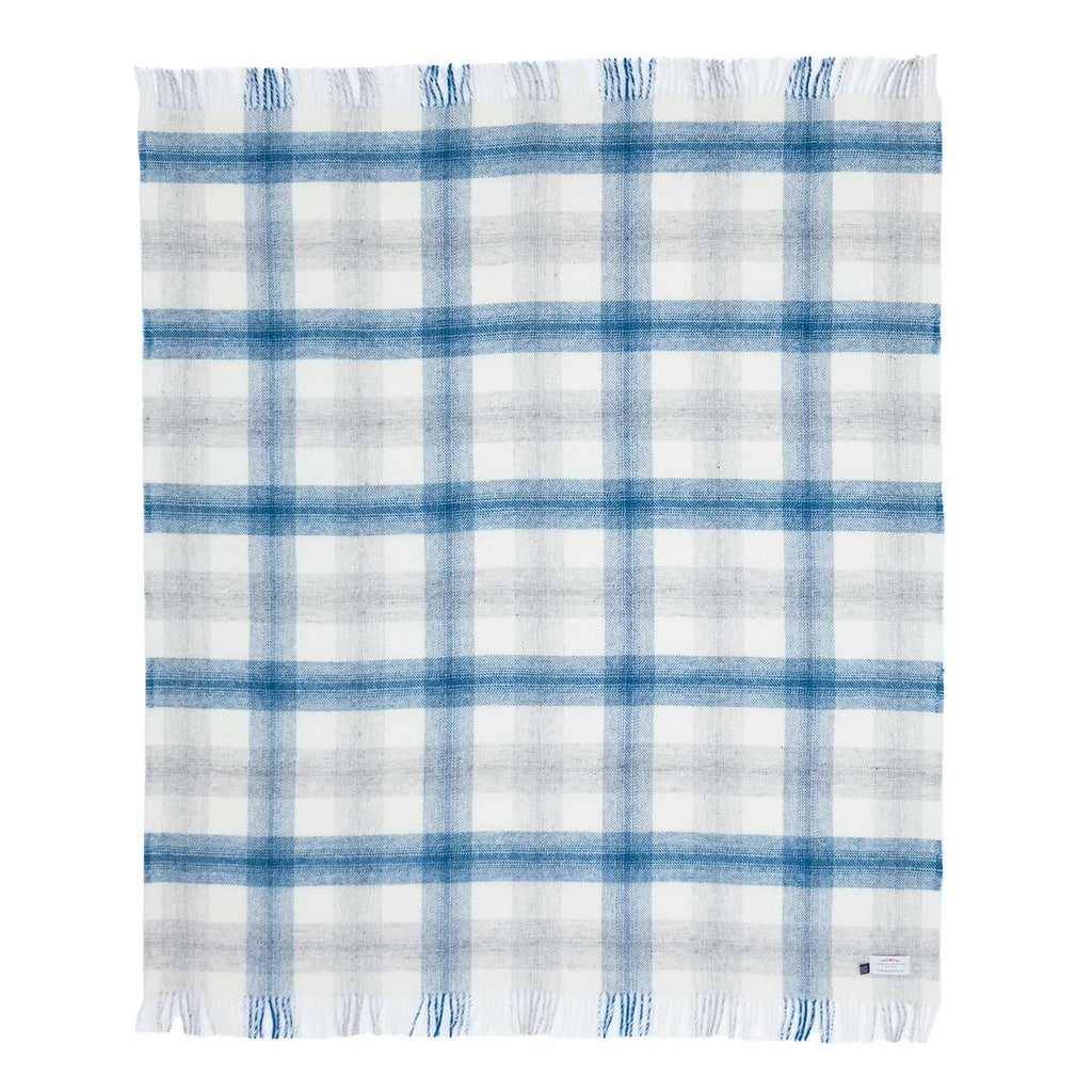 Pure New Wool Check Throw Blue -  - LIVING  from The Wool Company