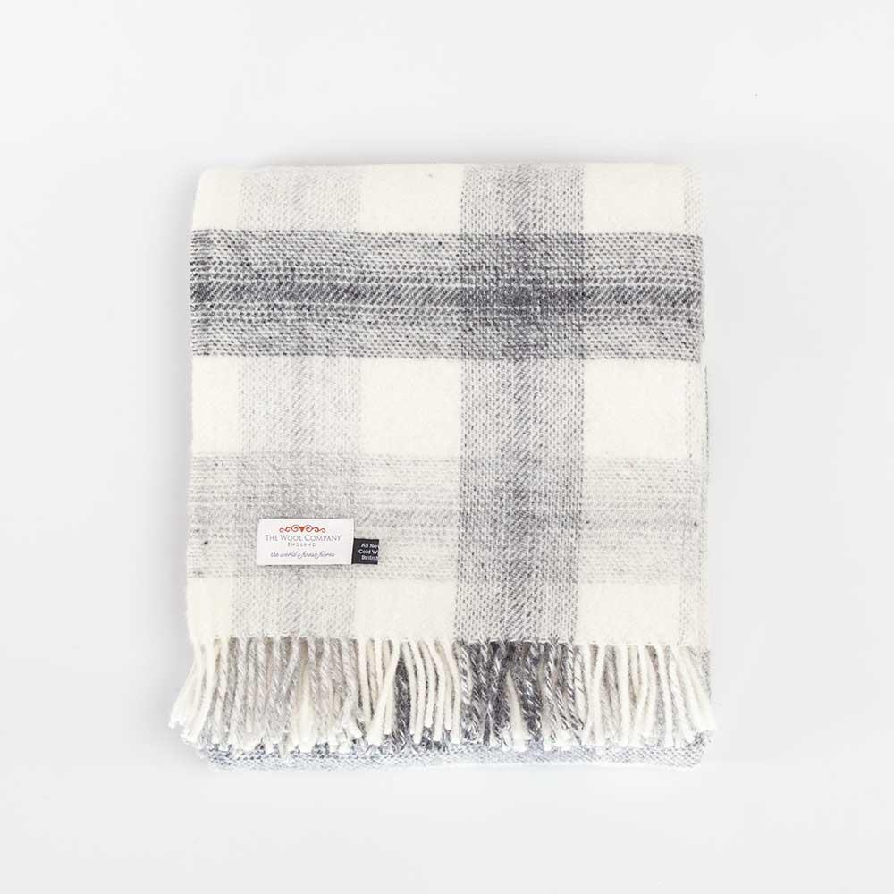 Pure New Wool Check Throw Grey -  - LIVING  from The Wool Company