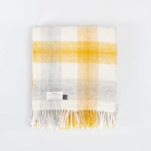 Pure New Wool Check Throw Yellow -  - LIVING  from The Wool Company