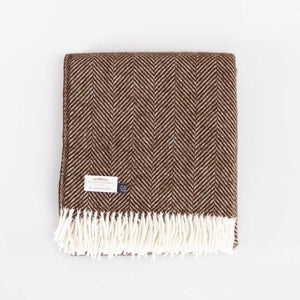 Buy Pure New Wool Fishbone Throw Chocolate From The Wool Company Online