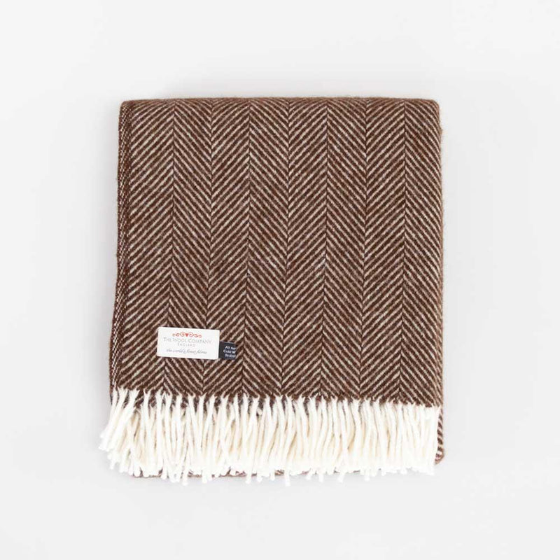 Pure New Wool Fishbone Throw Chocolate -  - LIVING  from The Wool Company