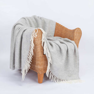 Pure New Wool Fishbone Throw Grey Mist -  - LIVING  from The Wool Company