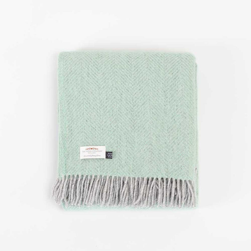Pure New Wool Herringbone Throw Duck Egg Green & Grey -  - LIVING  from The Wool Company