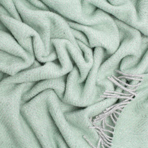 Buy Pure New Wool Herringbone Throw Duck Egg Green & Grey From The Wool Company Online
