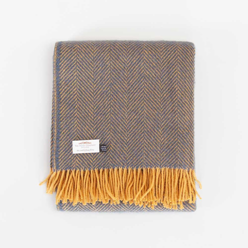 Buy Pure New Wool Herringbone Throw Navy and Mustard From The Wool Company Online