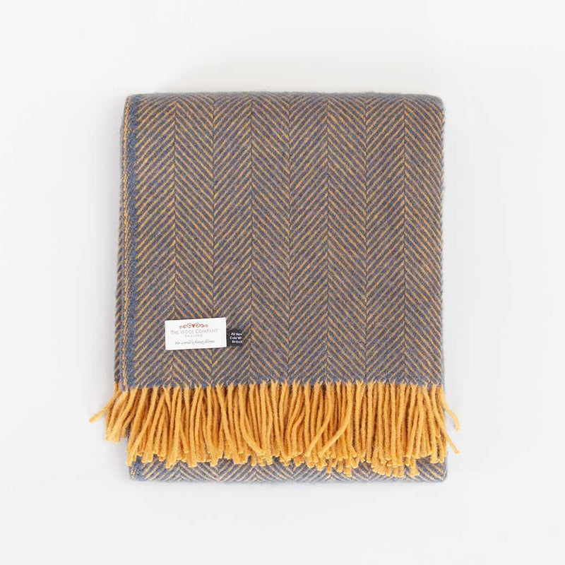 Pure New Wool Herringbone Throw Navy and Mustard -  - LIVING  from The Wool Company