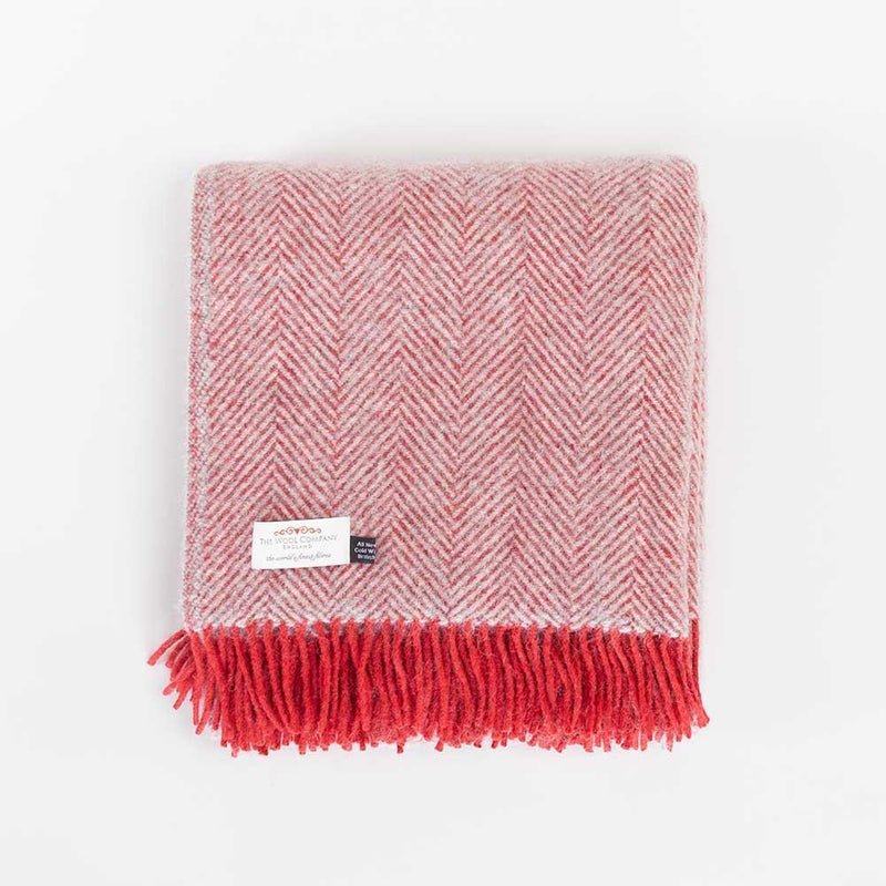 Pure New Wool Herringbone Throw Silver & Red -  - LIVING  from The Wool Company