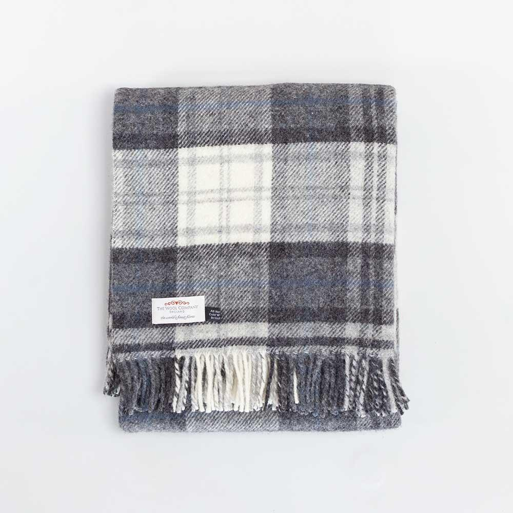 Pure New Wool Throw Grey Check -  - LIVING  from The Wool Company