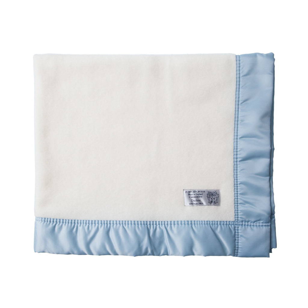 Satin Bound Merino Baby Blanket Soft Blue 100 x 120 cm. BABY The Wool Company