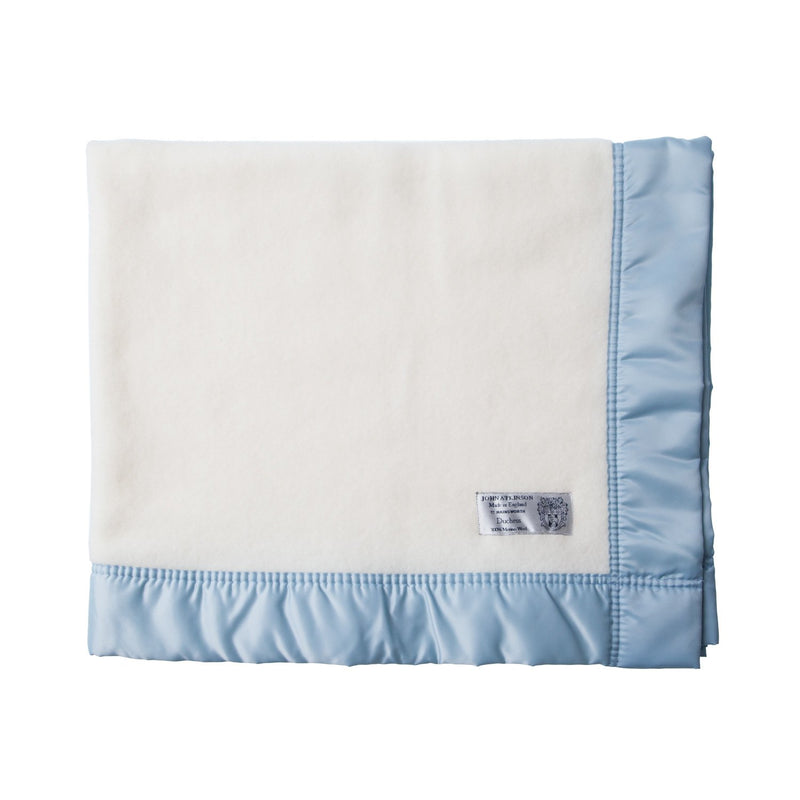 Satin Bound Merino Baby Blanket Soft Blue - 100 x 120 cm. - BABY  from The Wool Company