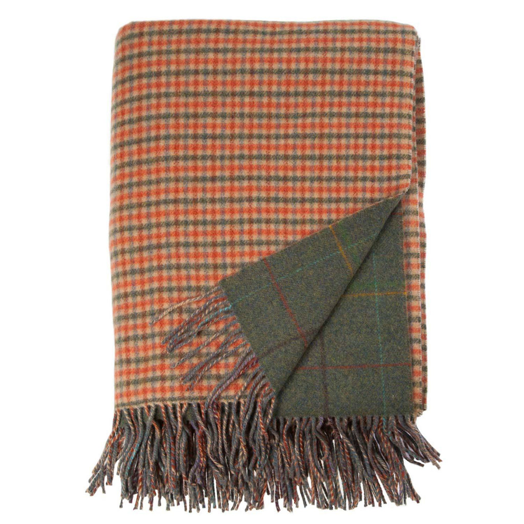 Scottish Tweed Lambswool Blanket Gunclub Green LIVING The Wool Company