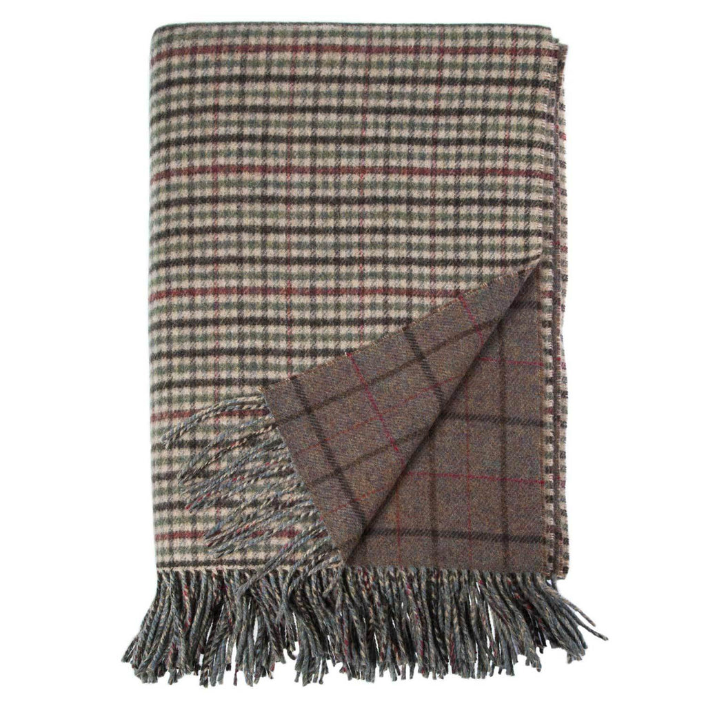Scottish Tweed Lambswool Blanket Gunclub Natural LIVING The Wool Company