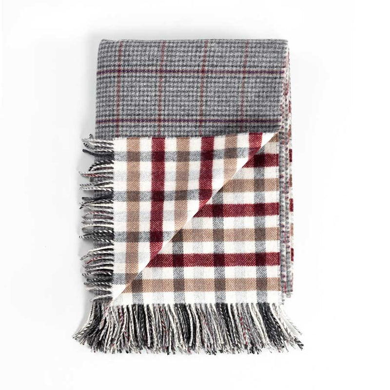 Scottish Tweed Lambswool Blanket Houndstooth -  - LIVING  from The Wool Company