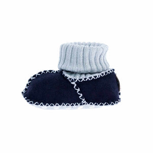 Sheepskin Baby Slippers Navy Blue - 0 - 6 Months - BABY  from The Wool Company
