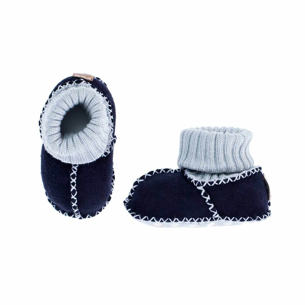 Sheepskin Baby Slippers Navy Blue BABY The Wool Company