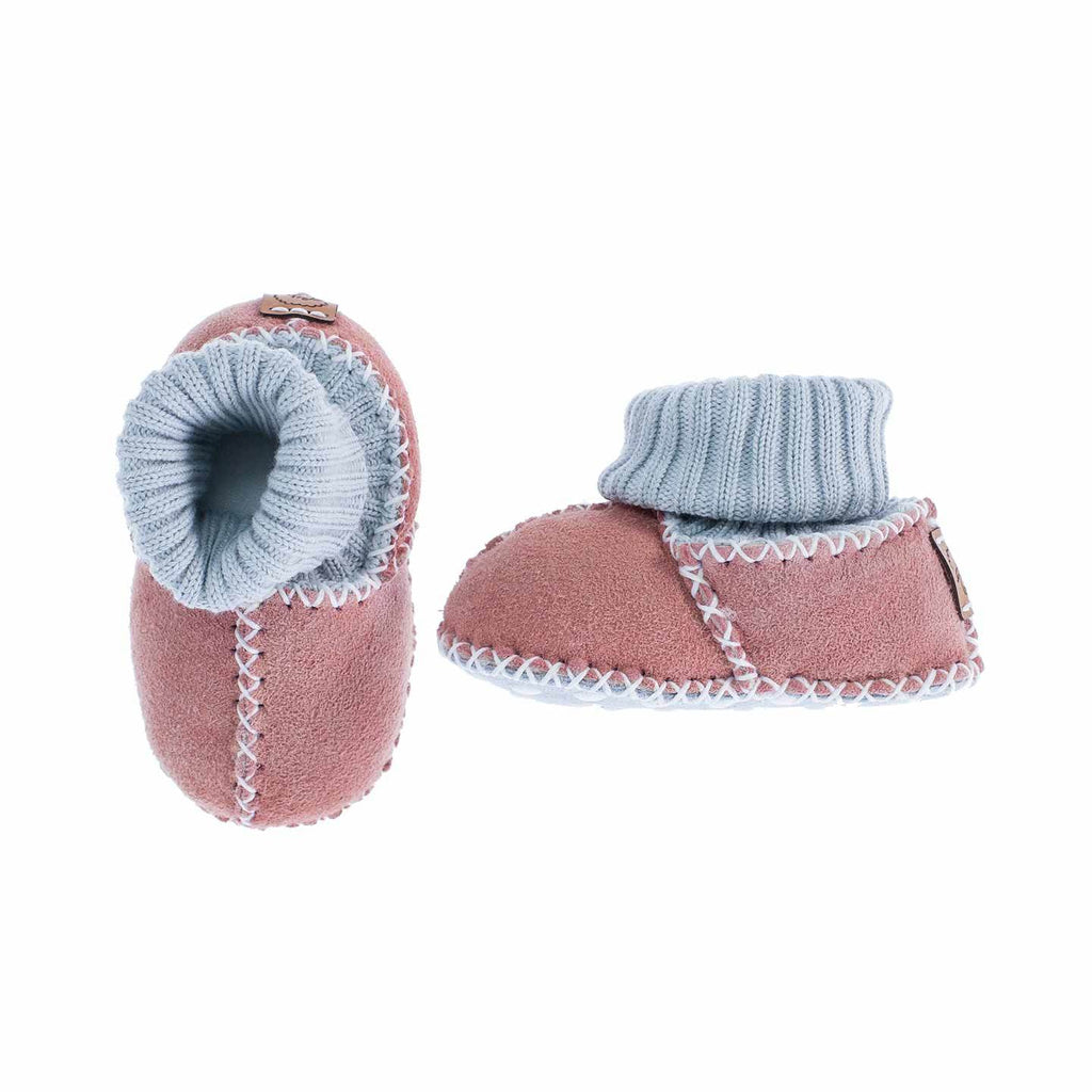 Sheepskin Baby Slippers Rose BABY The Wool Company