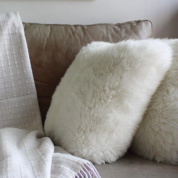 Sheepskin Cushions Double Faced - Natural White - SHEEPSKIN  from The Wool Company
