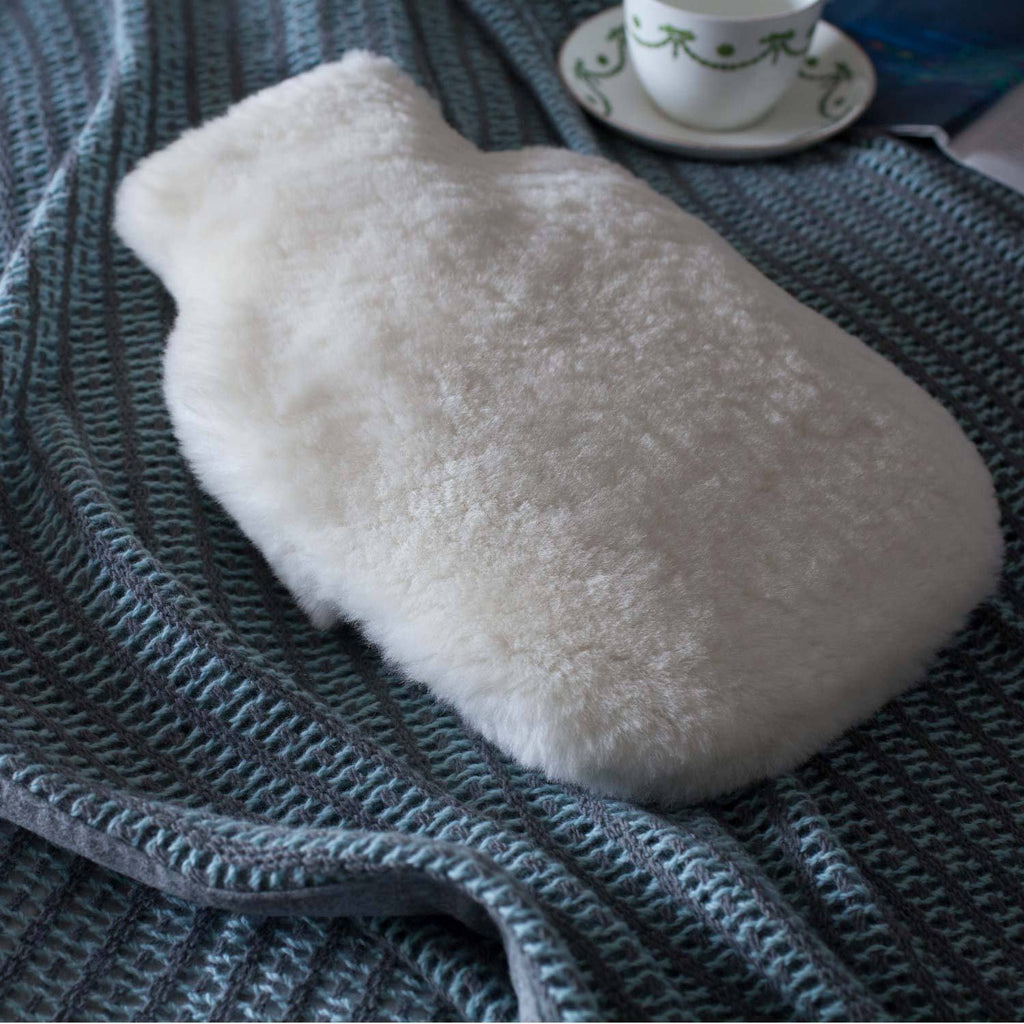 Sheepskin Hot Water Bottle Oyster -  - SHEEPSKIN  from The Wool Company